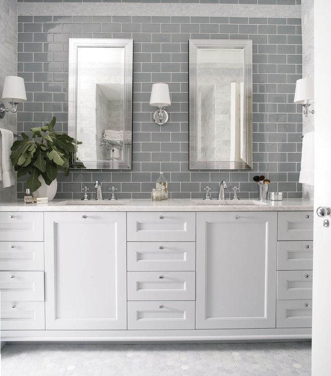 Grey Subway Tiles with Classic White Bathroom